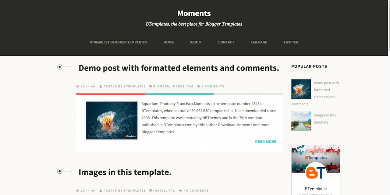 Moments Blogger template BTemplates