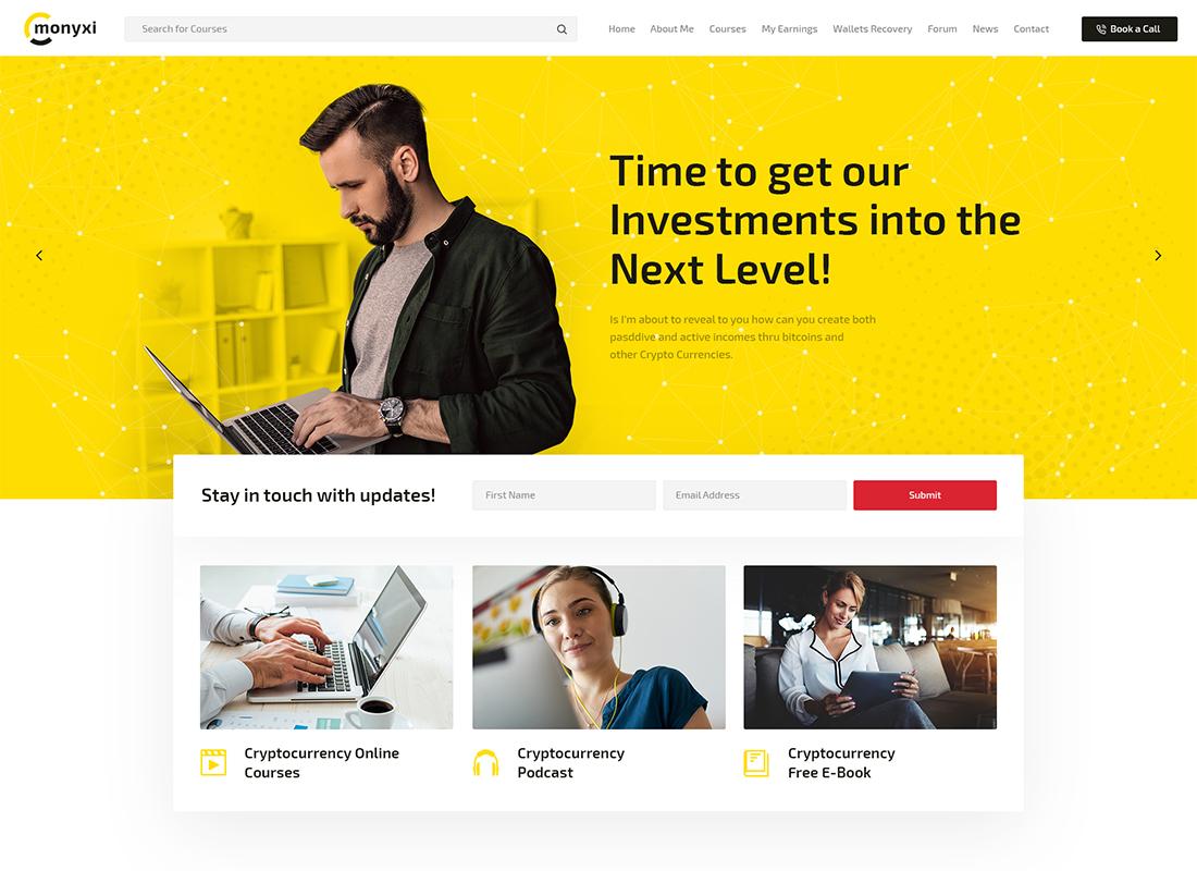 Monyxi - Cryptocurrency Trading Business Coach WordPress Theme
