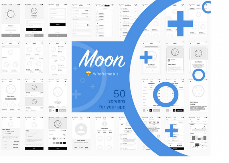 Moon Wireframe Kit Sketch