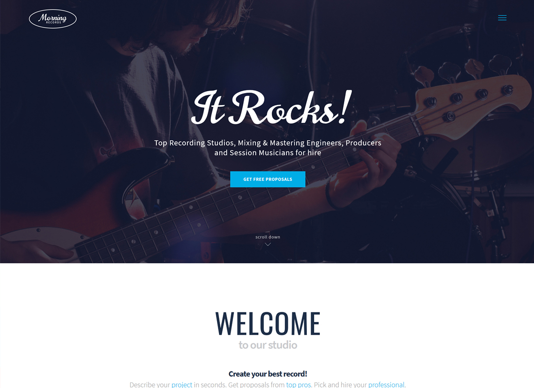 Morning Records - A Stylish Sound Recording Studio WordPress Theme