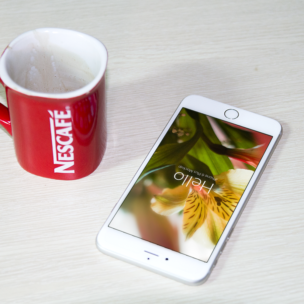 Free PSD iPhone 6 Mockup With Morning Coffee