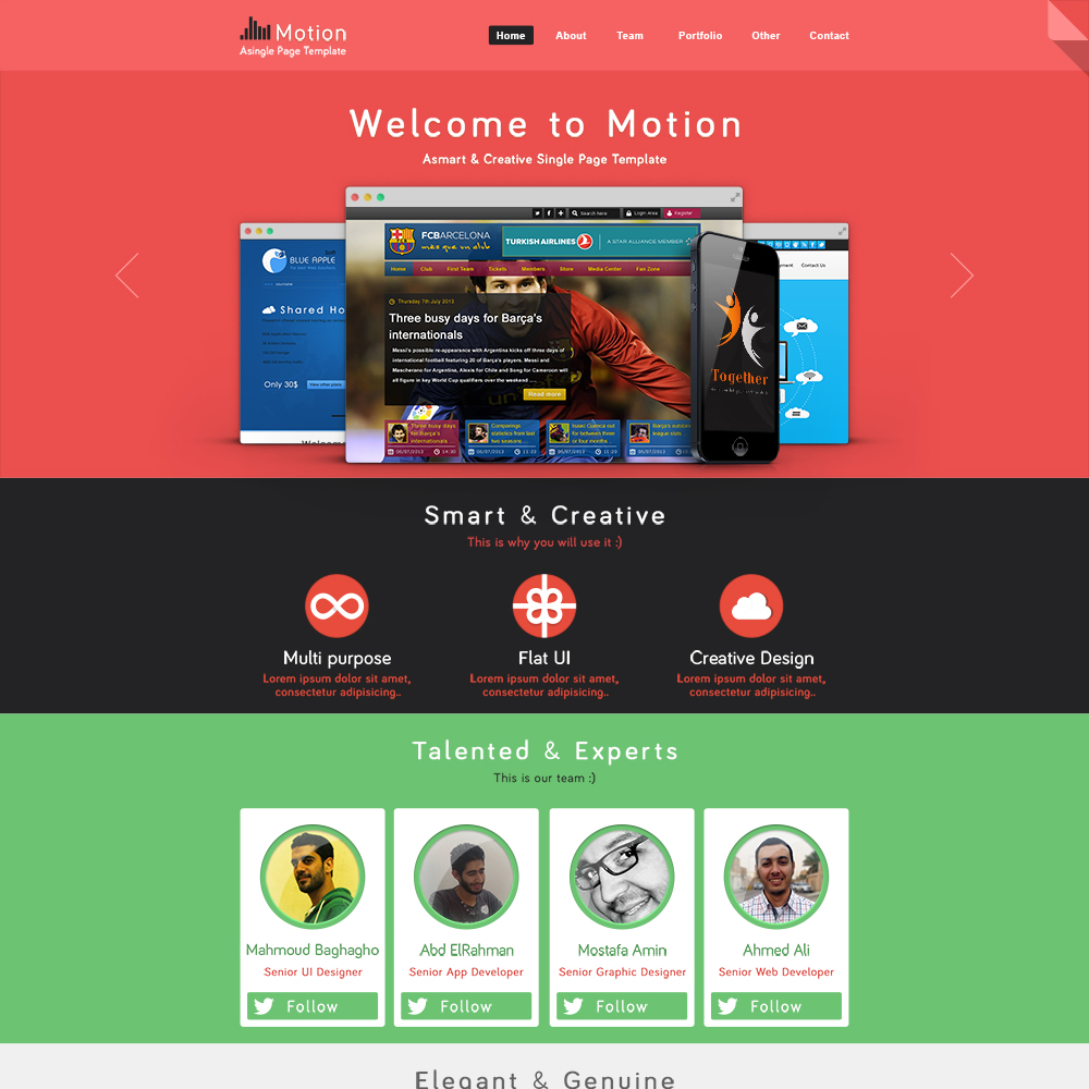 Motion PSD One Page Template