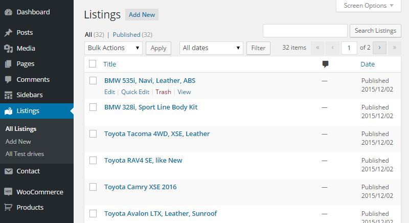 Motors Custom Post Types