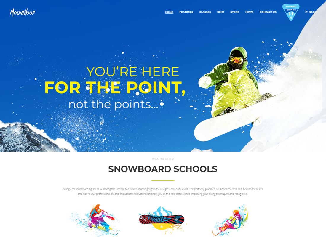 Mounthood - A Modern Ski and Snowboard School WordPress Theme