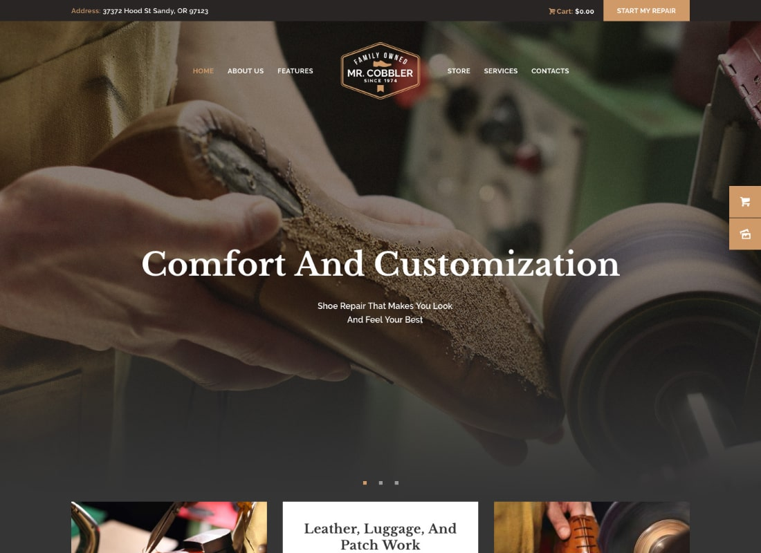 Mr. Cobbler | Custom Shoemaking & Footwear Repairs WordPress Theme
