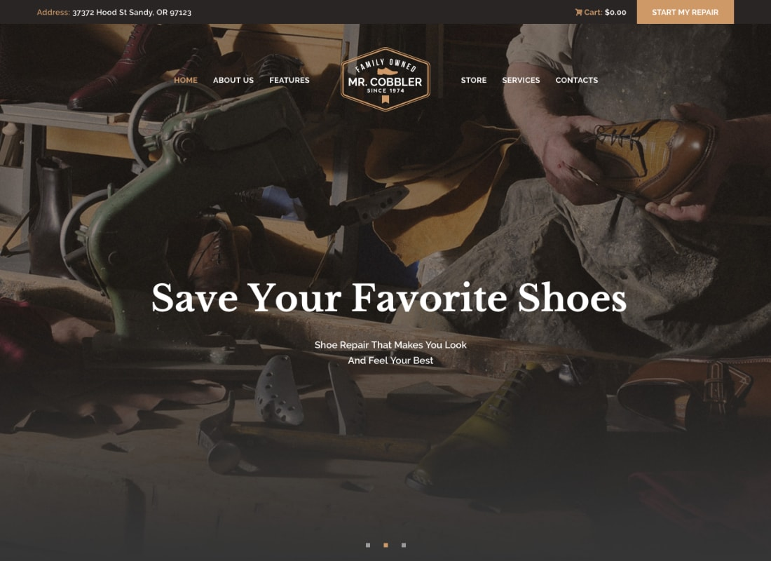 Mr. Cobbler | Custom Shoemaking & Repairs WordPress Theme