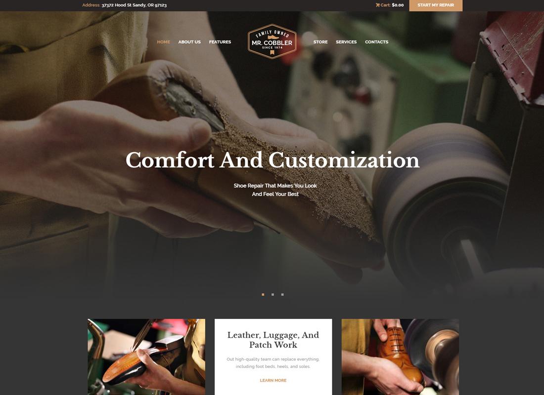 Mr. Cobbler | Custom Shoemaking & Repairs WordPress Theme