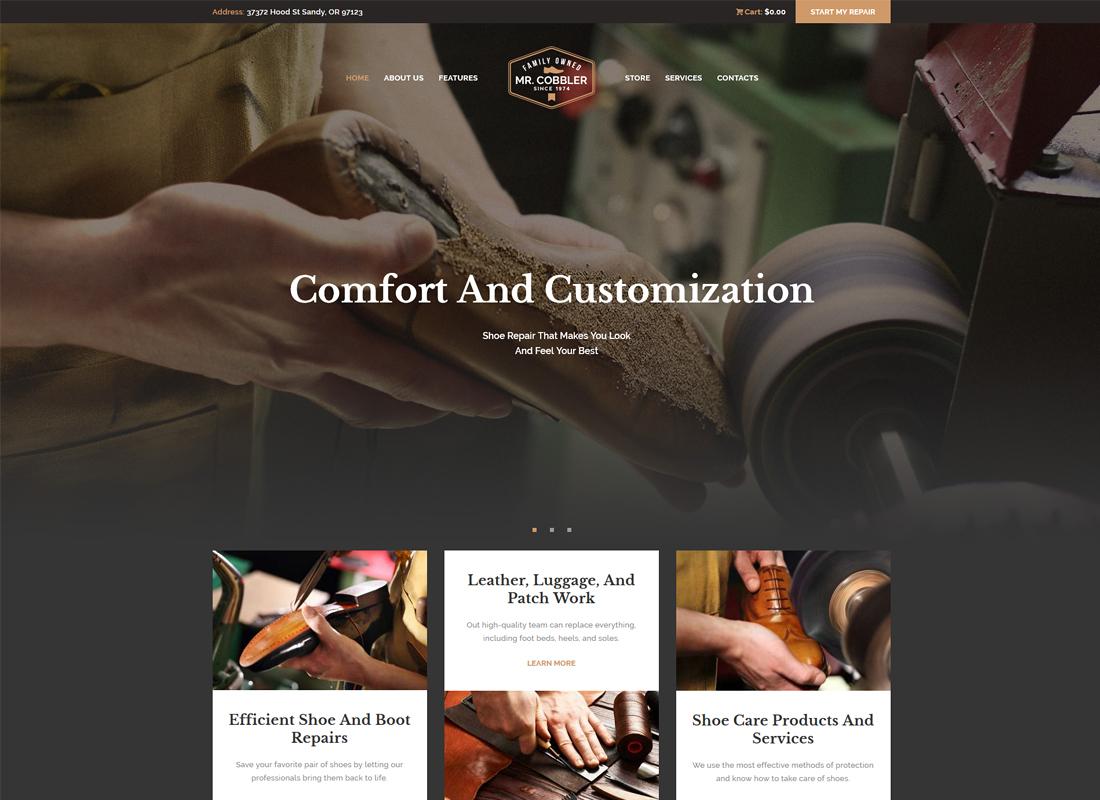 Mr. Cobbler - Custom Shoemaking & Repairs WordPress Theme