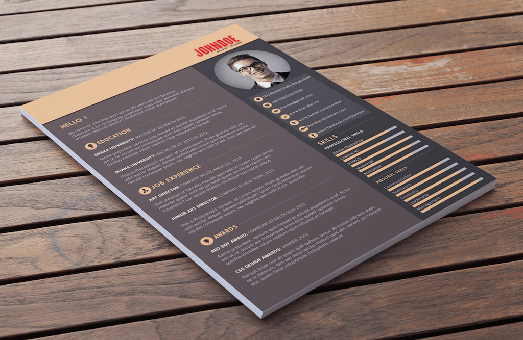 Multi Color Resume Template By Abdullah Al Mamun  Psd Resume Template
