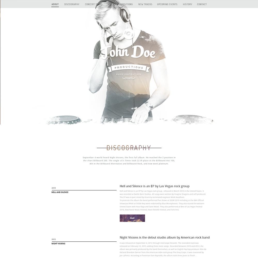 Free Musicians PSD Portfolio Template