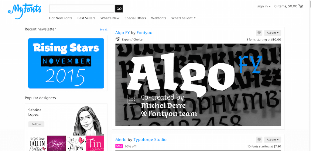 MyFonts Fonts for Print Products Screens