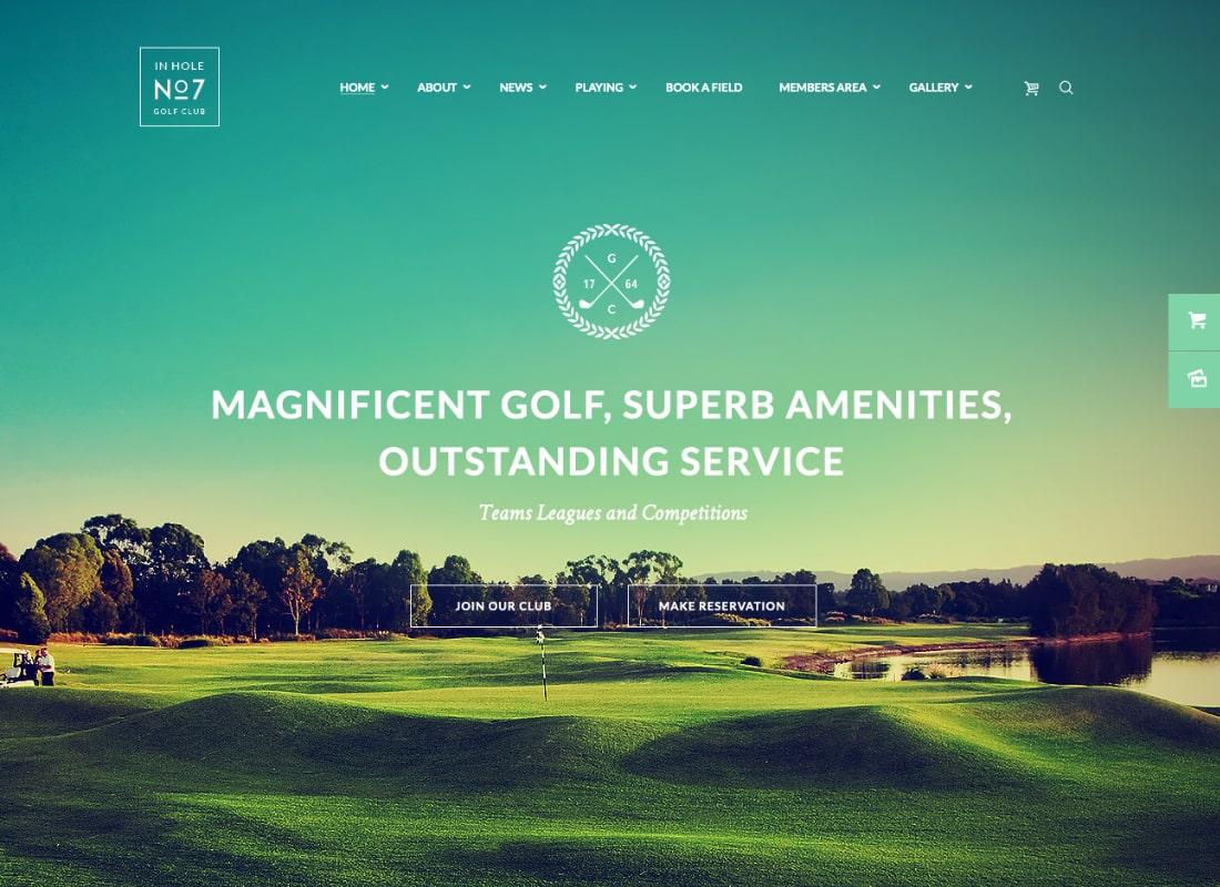 N7 | Golf Club & Course Sports & Events WordPress Theme