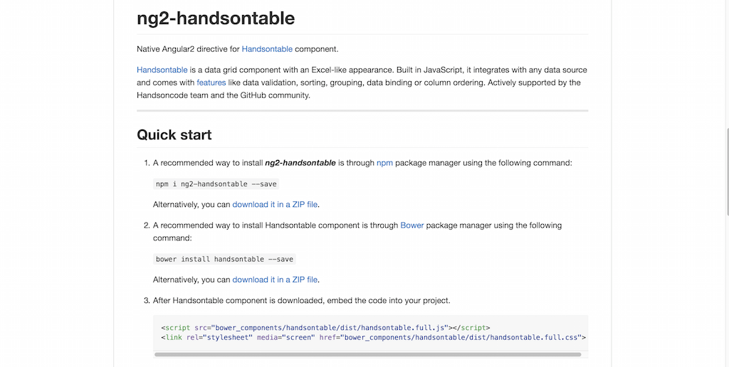 Native Angular2 directive for Handsontable