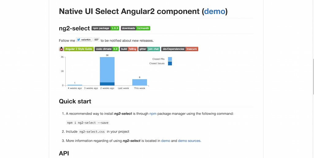 Native UI Select Angular2 component