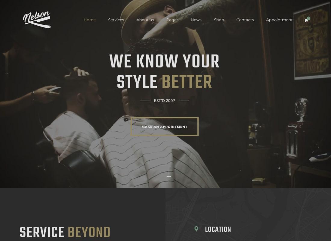Nelson | Barbershop Hairdresser & Tattoo Salon WordPress Theme