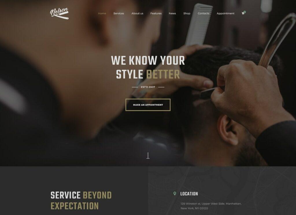 Nelson | Barbershop Hairdresser, Tattoo & Beauty Salon WordPress Theme