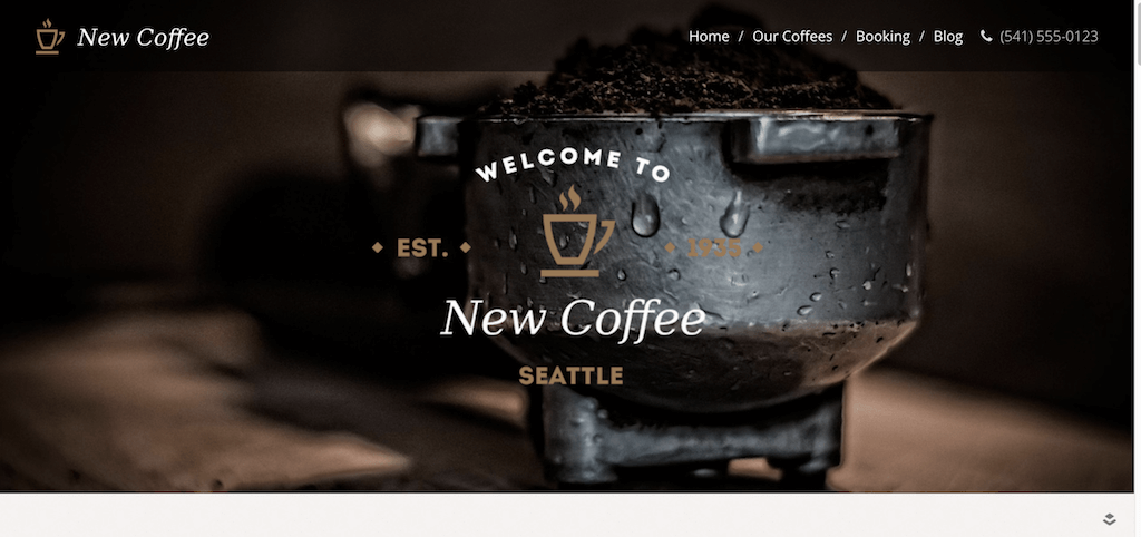New Coffee One Page – One Page demo for the New Coffee Theme