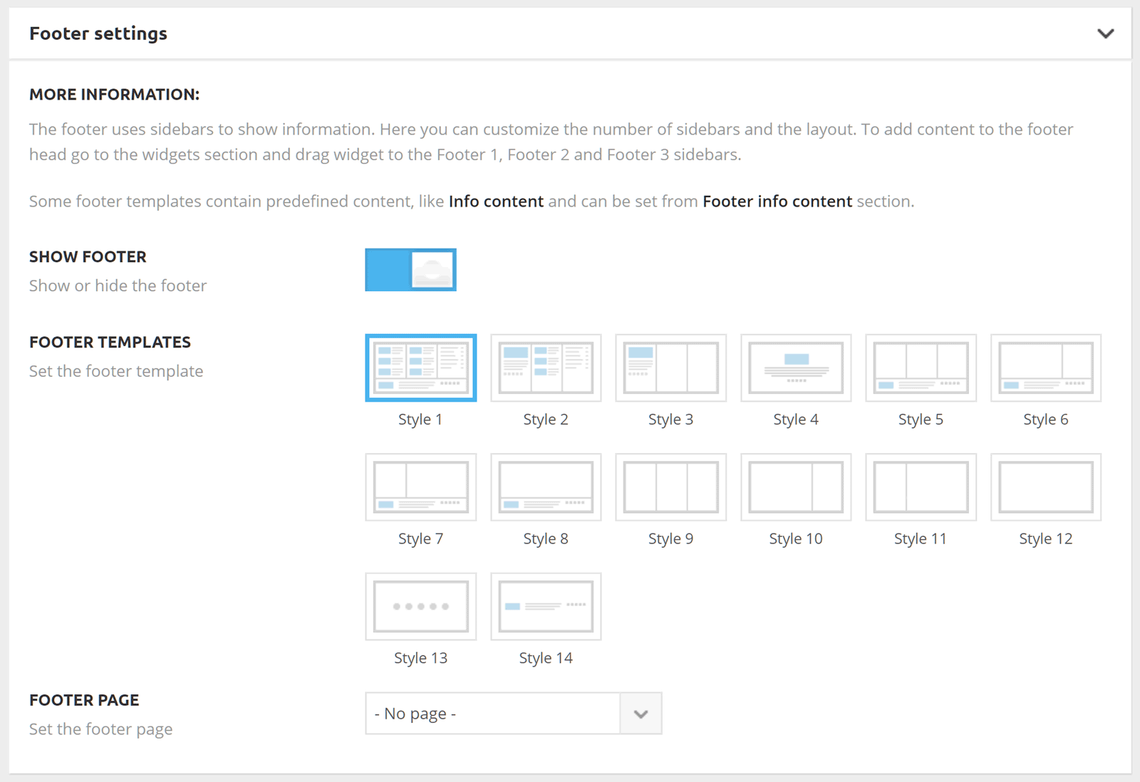 Panel Footer Settings