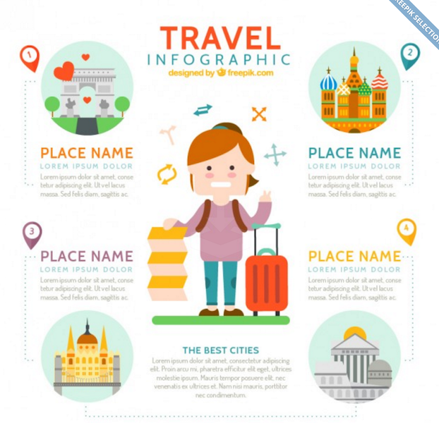 Nice Traveller with Travel Infographic Elements