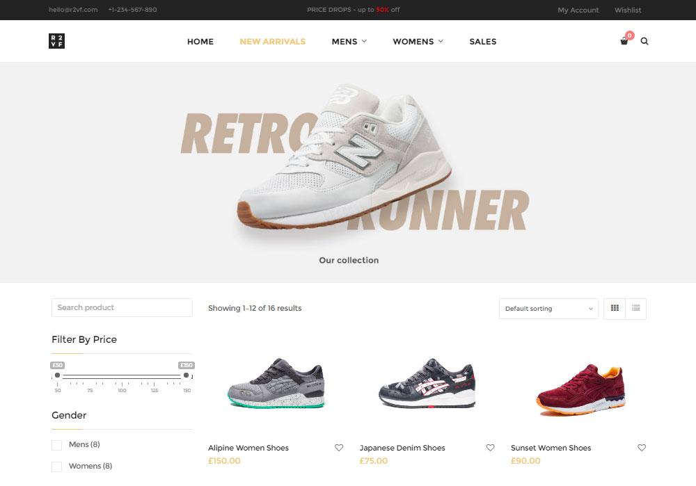 Nitro WordPress Theme Review Shoe Store Demo