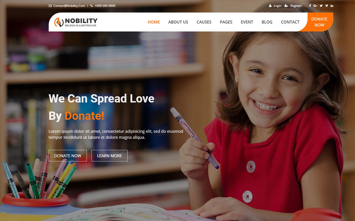 Nobility Ngo Website Template for charity organizations image