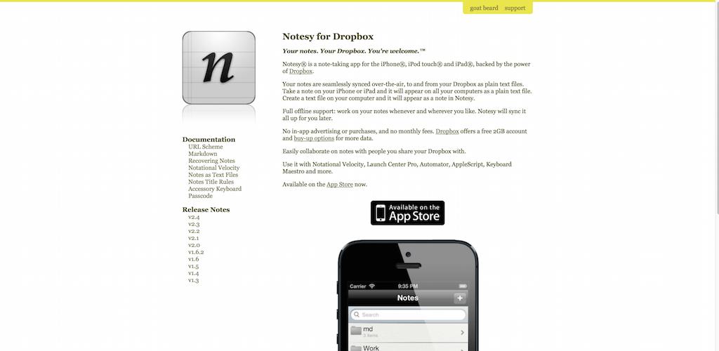 Notesy for Dropbox from Goat Beard LLC Notesy app