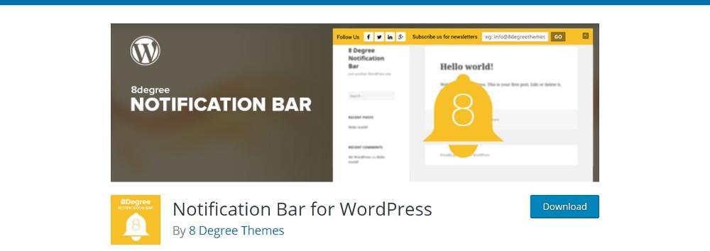 Notification Bar For WordPress