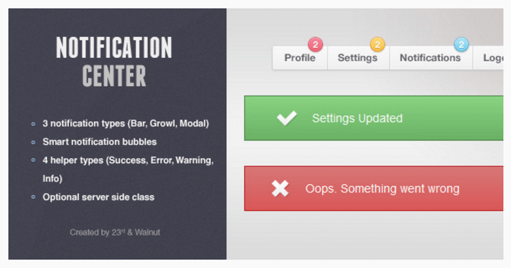 Notification Center 4 Notification Types JavaScript CodeCanyon