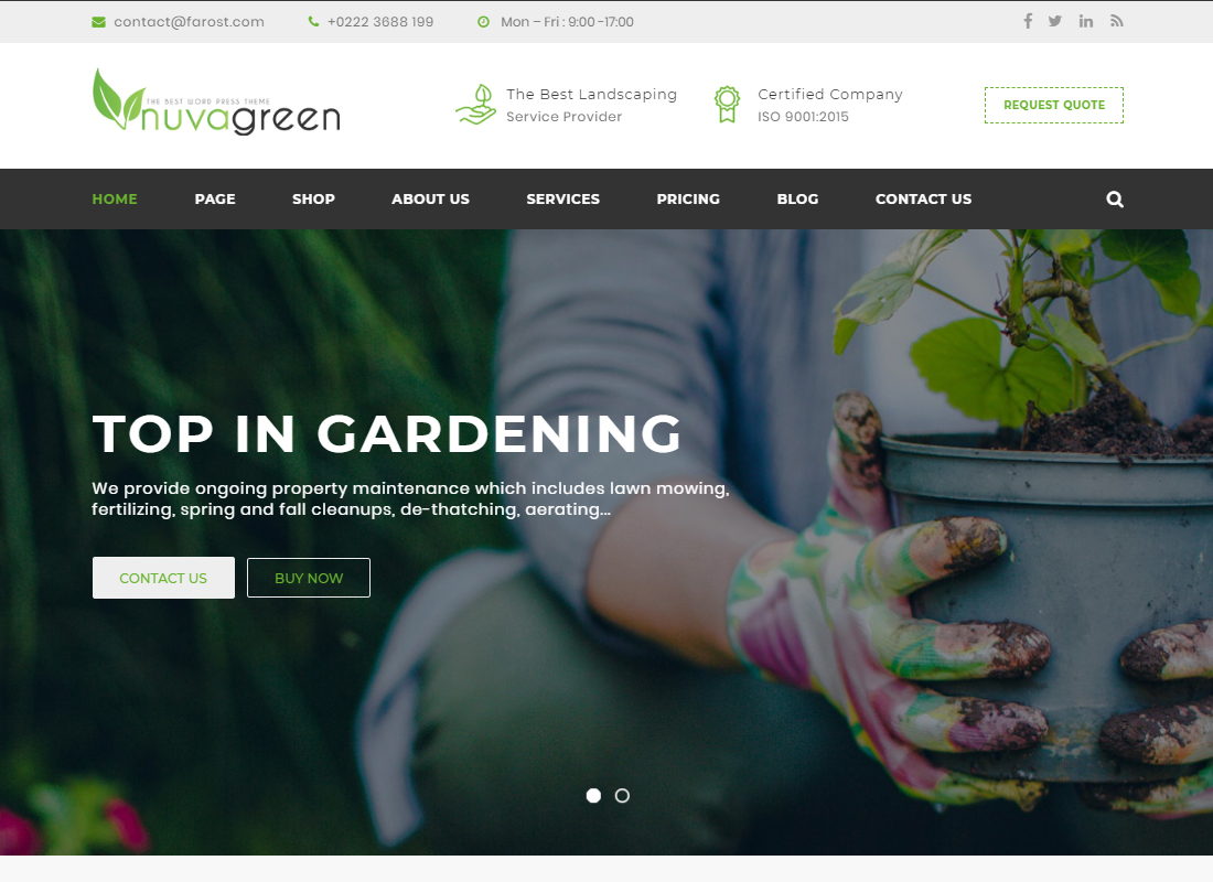 NuvaGreen - Landscape & Gardening WordPress Theme