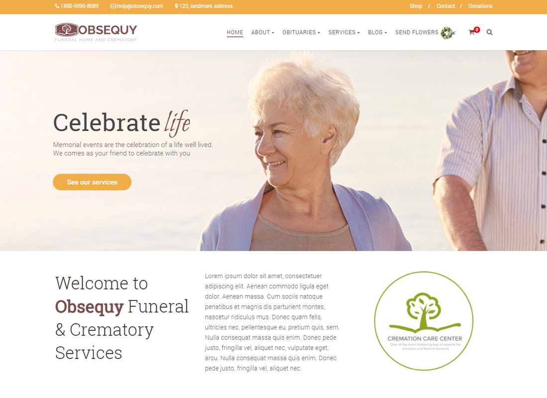 Obsequy - Funeral Home WordPress Theme