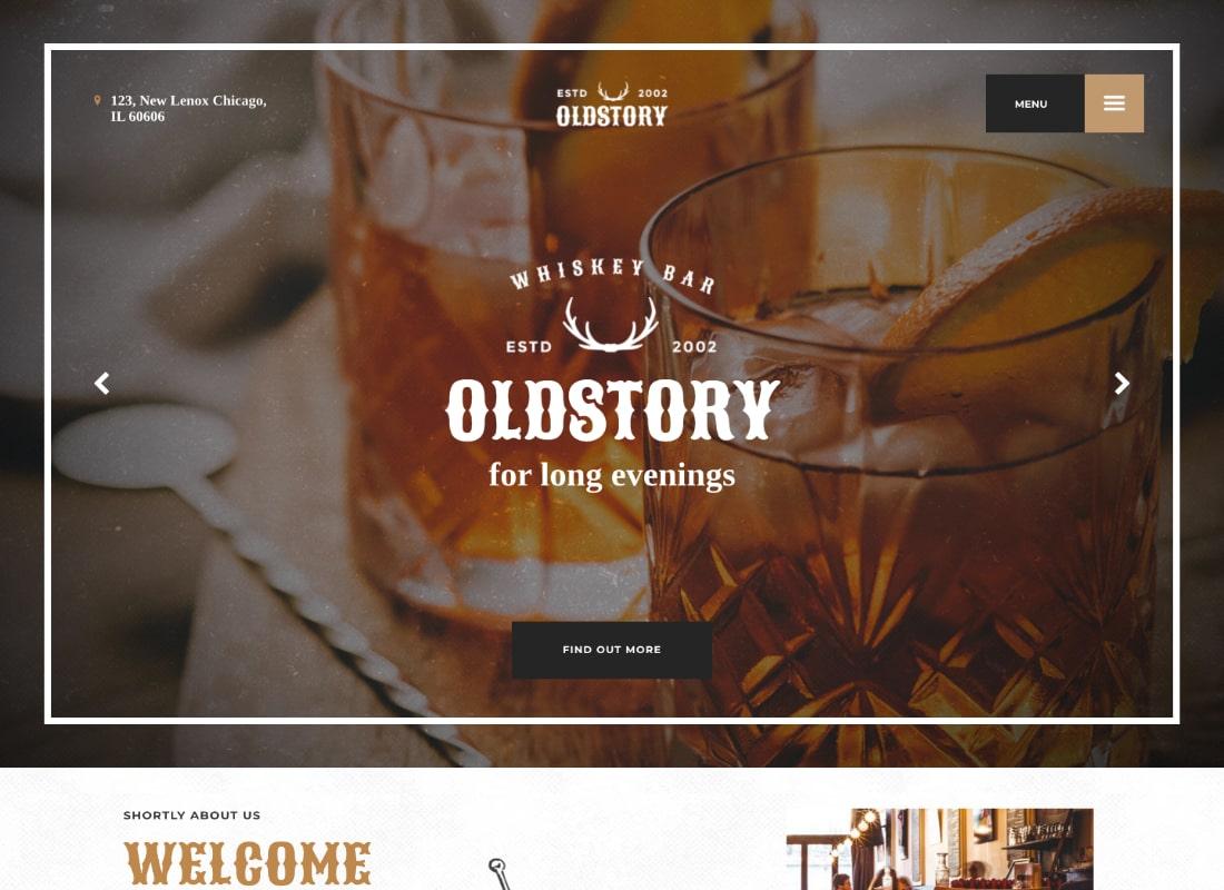 OldStory | Whisky Bar, Pub, Restaurant WordPress Theme