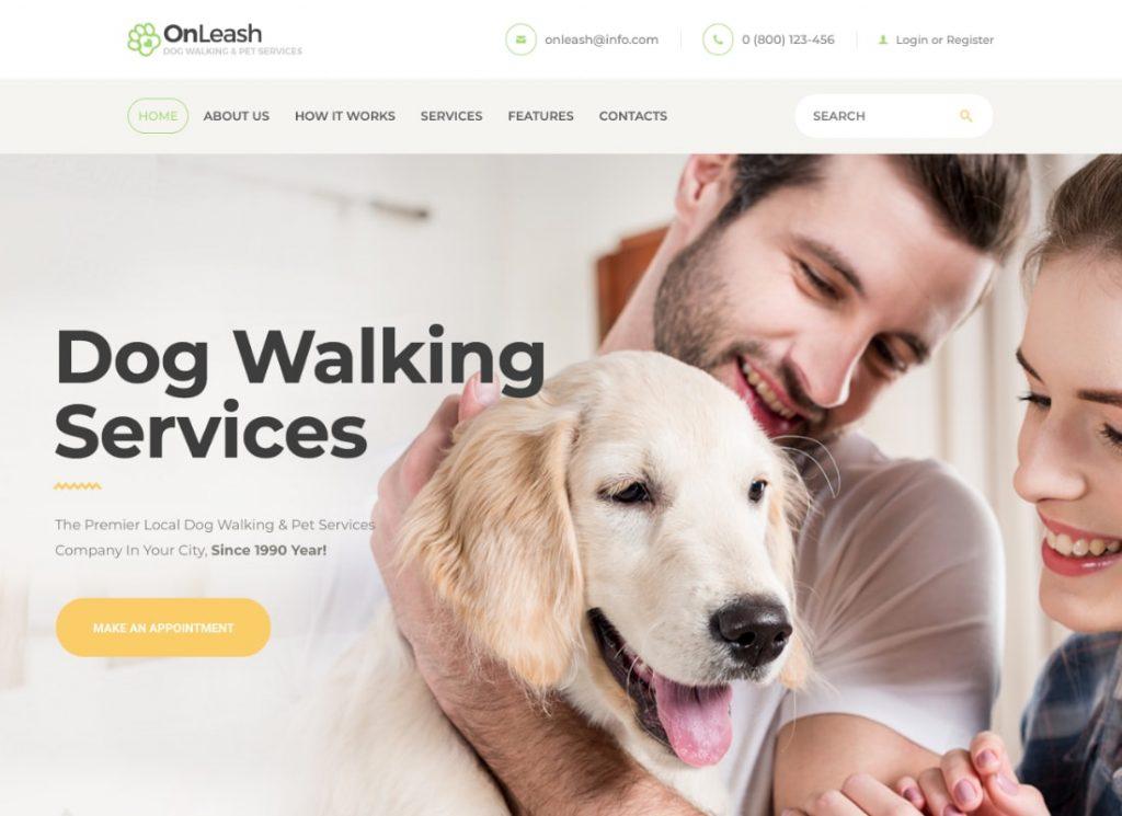 OnLeash |  Thème WordPress pour promenades de chiens et services pour animaux de compagnie