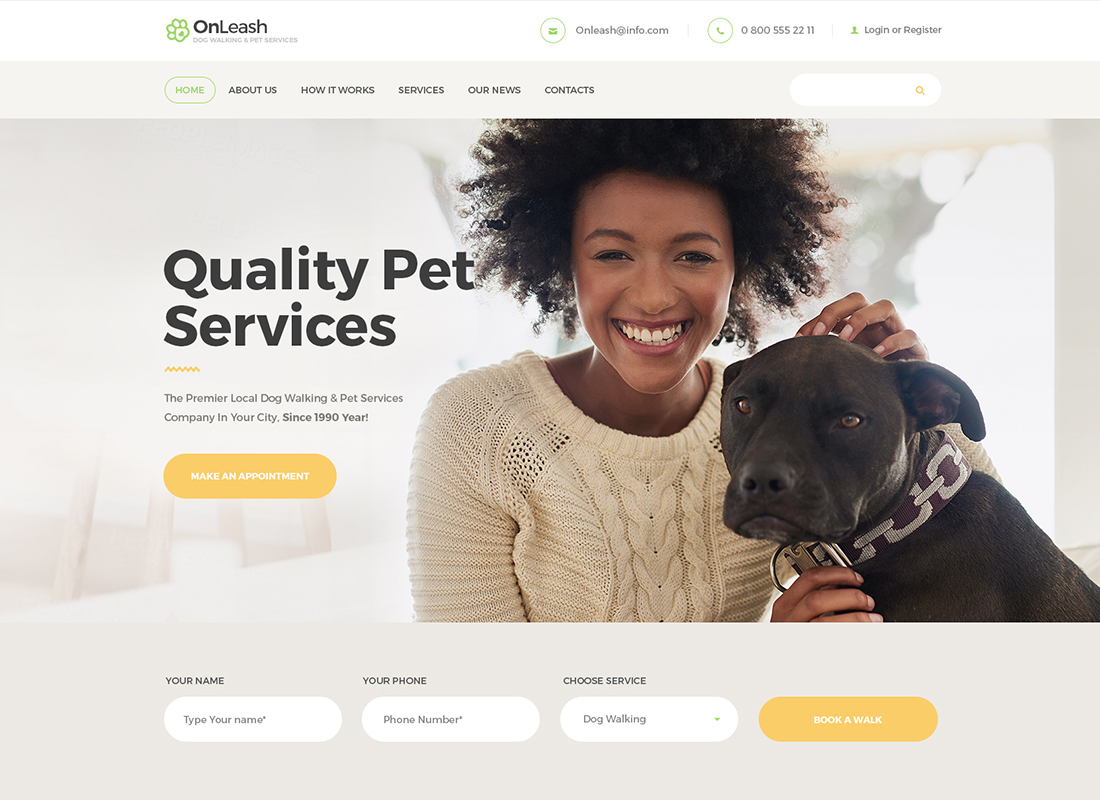 OnLeash - Dog Walking & Pet Services WordPress Theme
