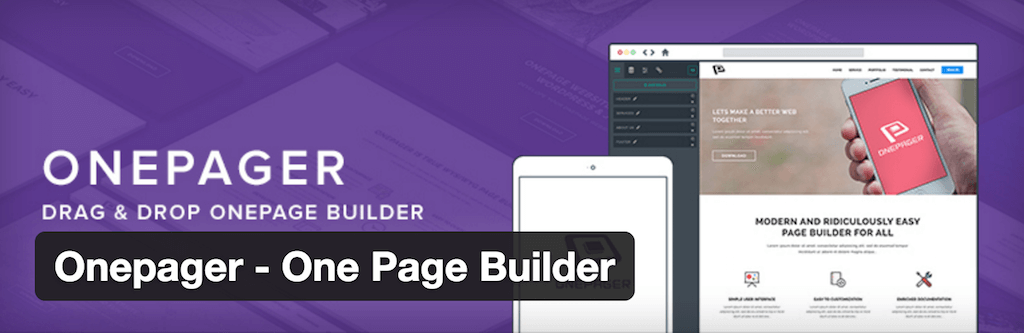 Onepager One Page Builder — WordPress Plugins