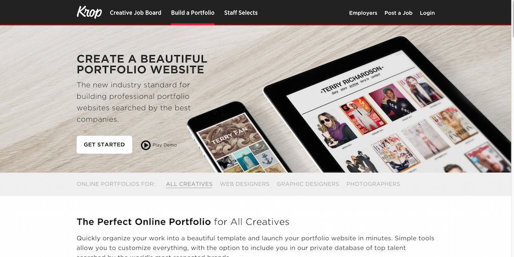 Online Creative Portfolio Resume Builder For All Creatives Krop