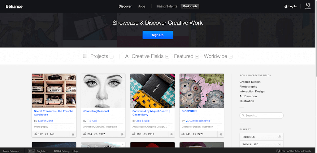 home web design. Online Portfolios on Behance Top 13 Showcase  Inspiration Sites for Web Designers 2016 Colorlib