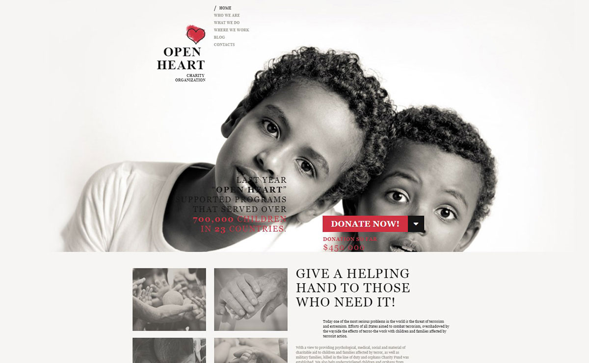 Open Heart Charity Organization Website Design image