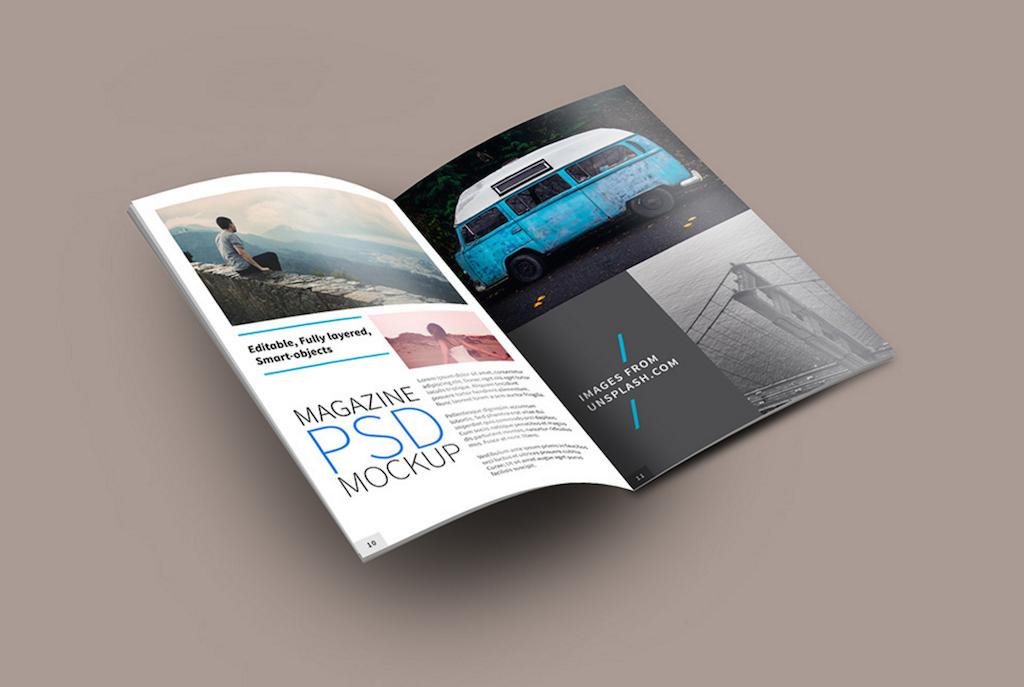 Maqueta de revistas: Maqueta de PSD de revista abierta