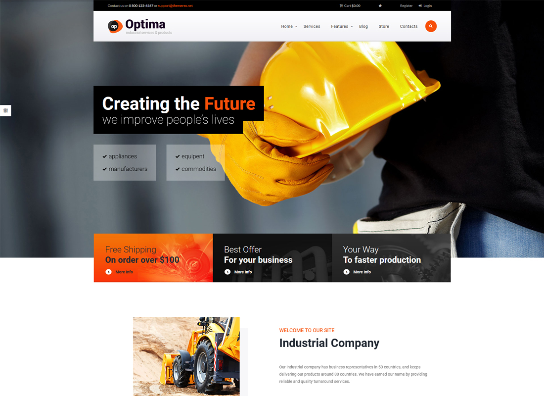 Optima - A Powerful Industrial WordPress Theme