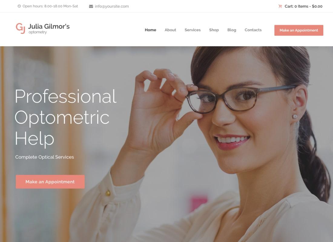 Optometry, Optician & Optics Store Medical WordPress Theme
