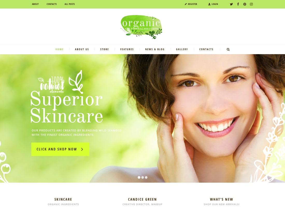 Organic | Organic Beauty Store & Natural Cosmetics WordPress Theme
