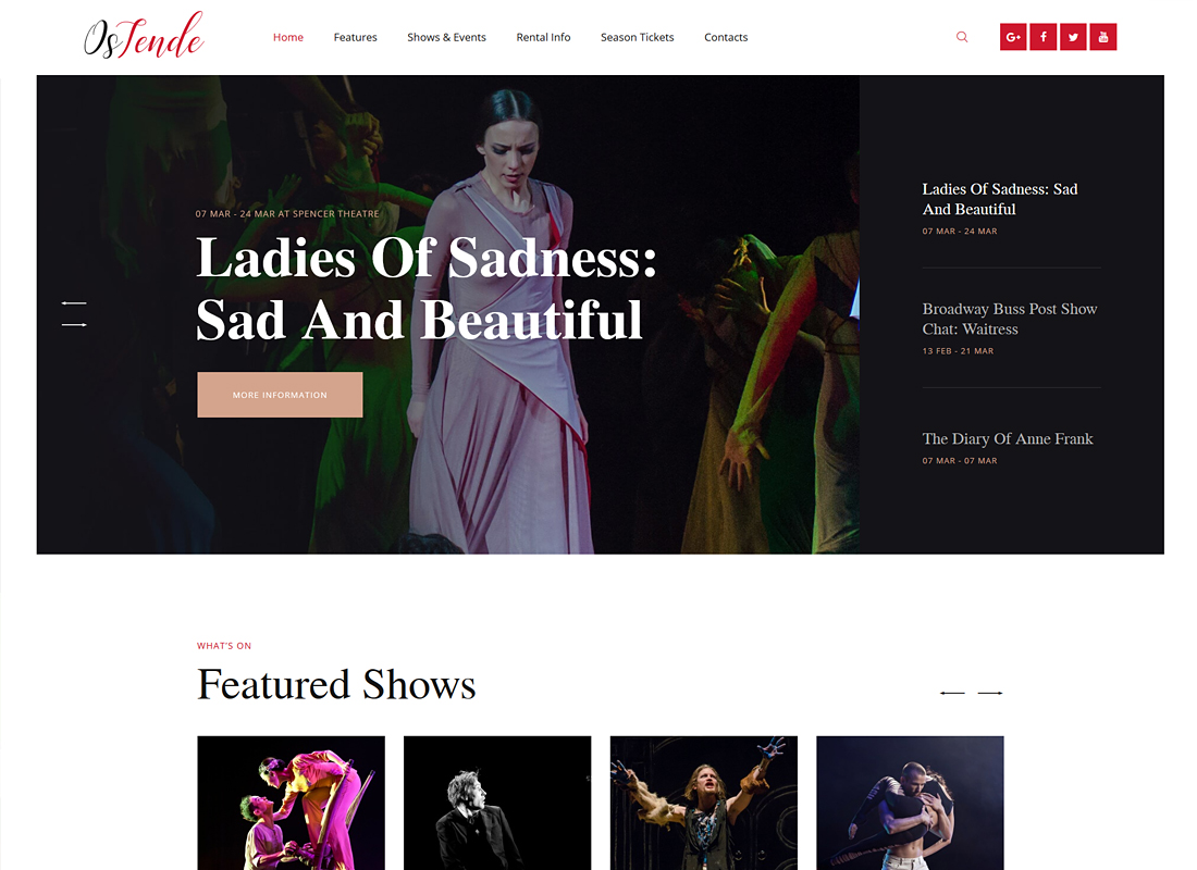 OsTende - Theater WordPress Theme