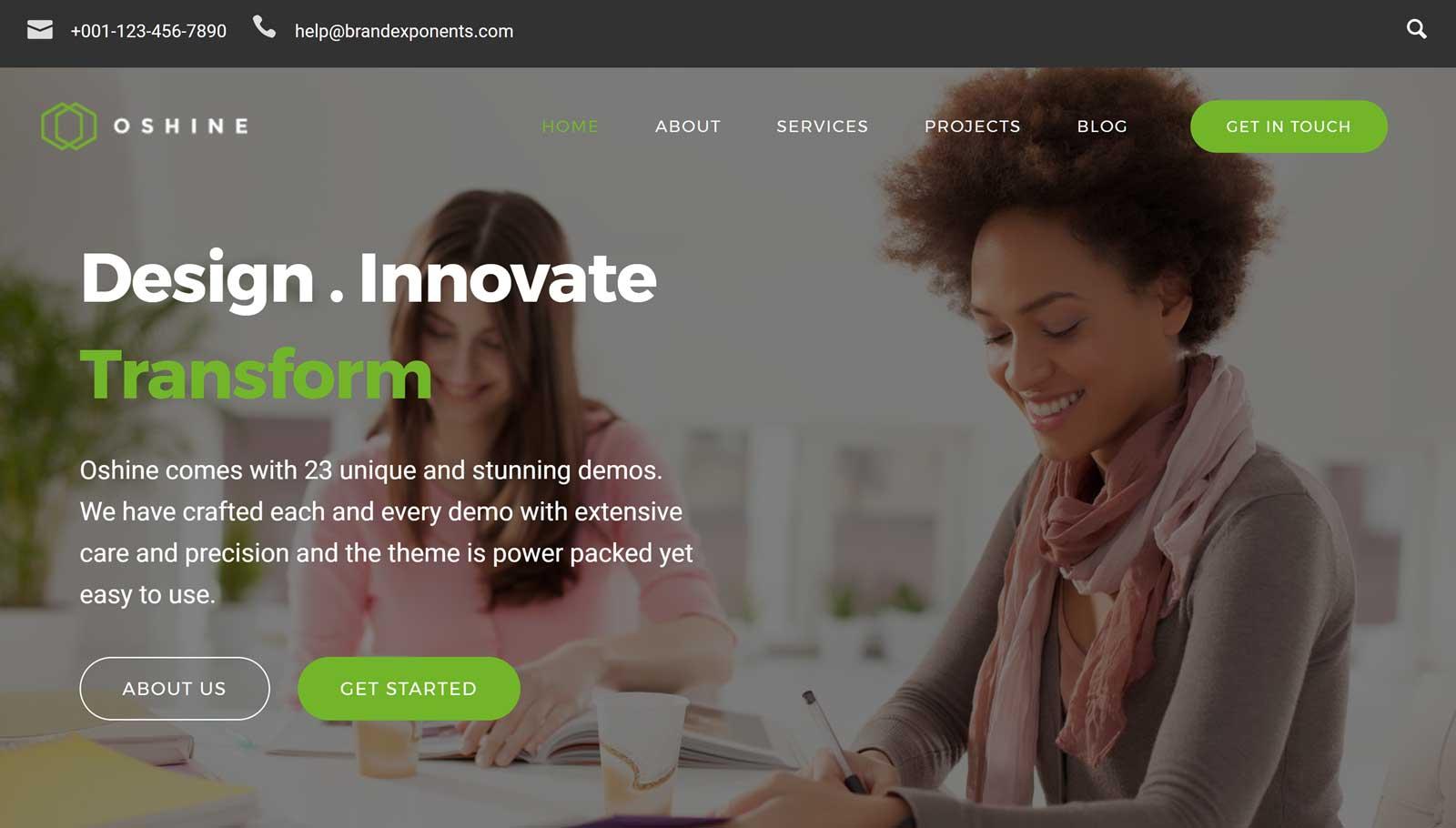 Demo del sitio web de Ohsine Business