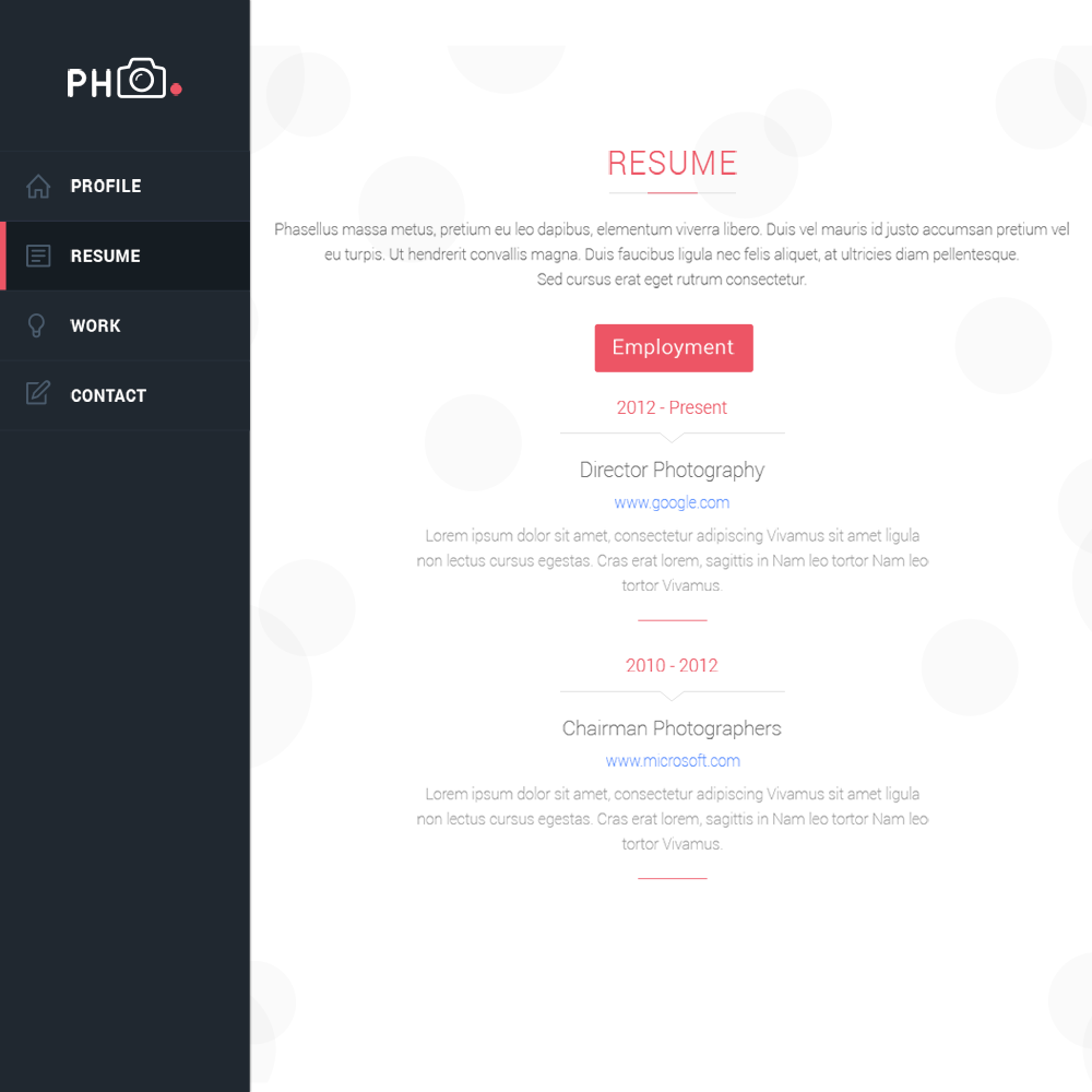 psd portfolio and resume website templates colorlib phcv psd resume portfolio template