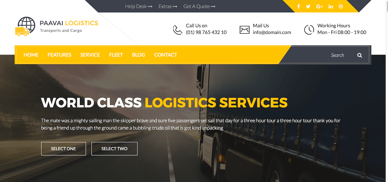 Paavai Logistics – Transport and Cargo WordPress Theme