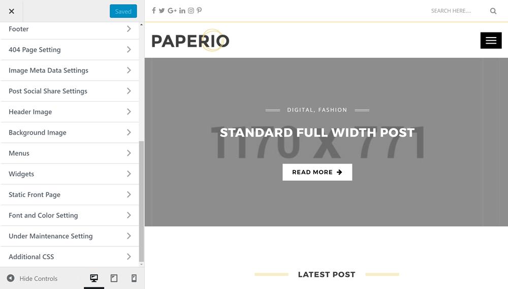 Paperio Custom Options