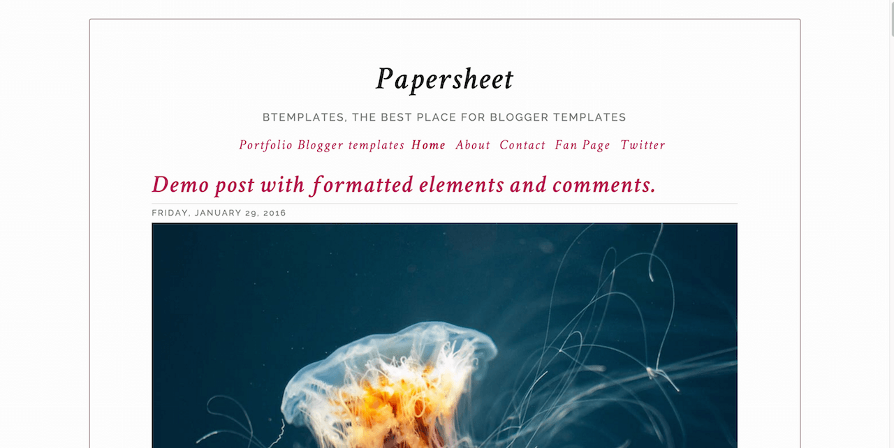 Papersheet Blogger template BTemplates