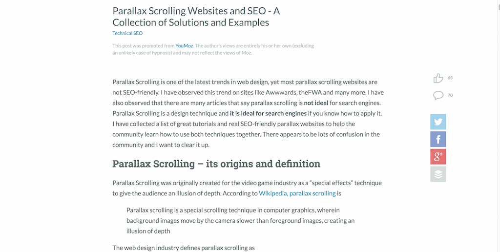 Parallax Scrolling Websites and SEO