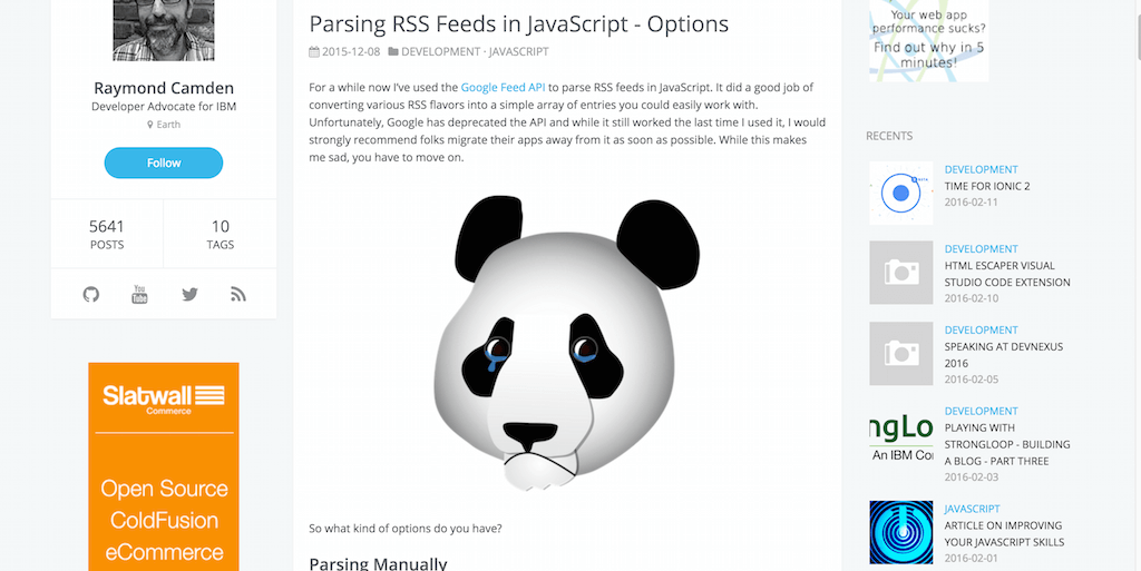 Parsing RSS Feeds in JavaScript Options · Raymond Camden
