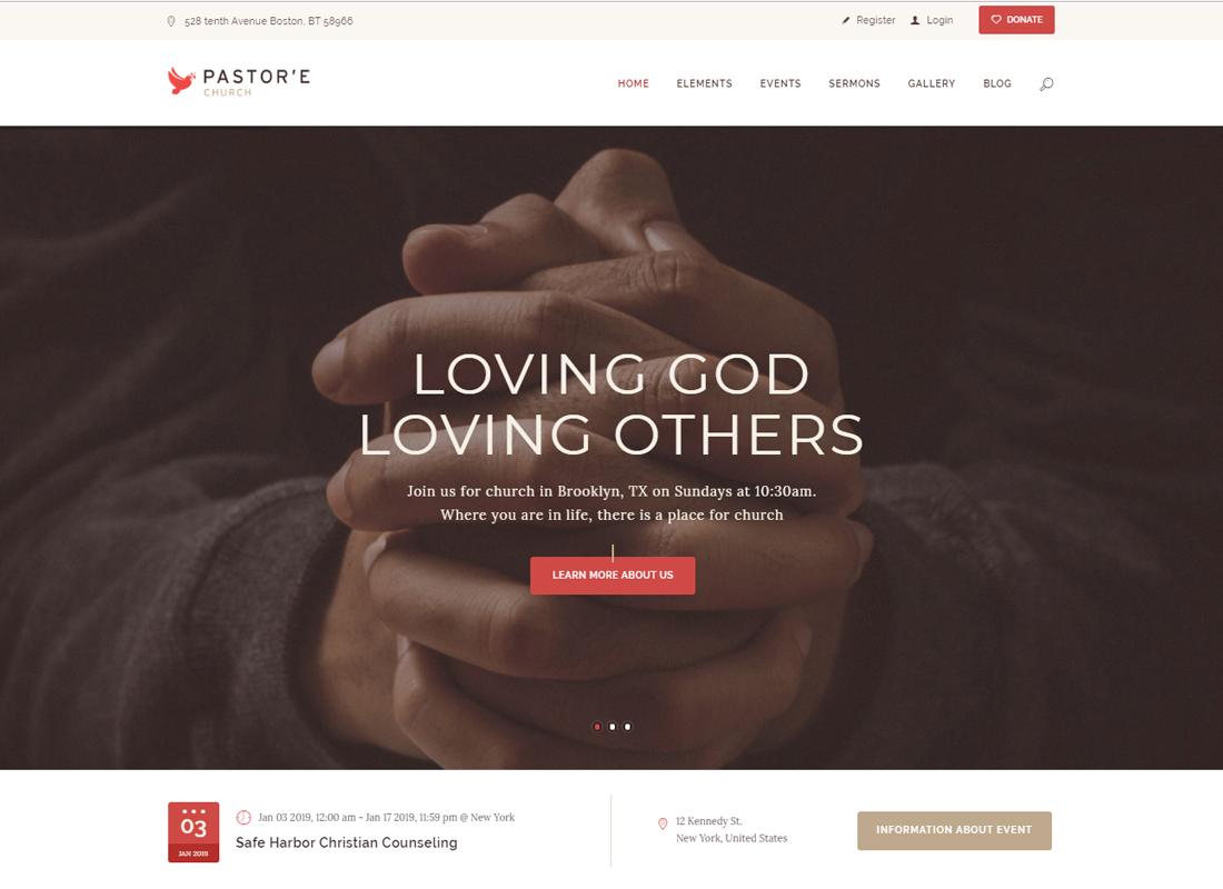 Pastor'e - Church, Religion & Charity WordPress Theme